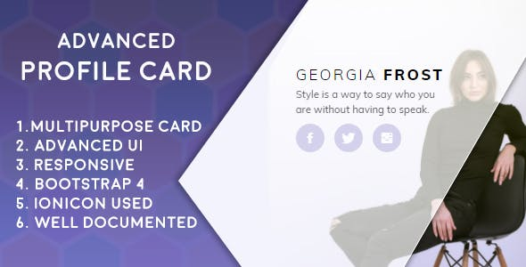 Advanced Profile Card (Bootstrap 4)