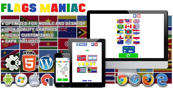 Flags Maniac - HTML5 Construct 2 Game