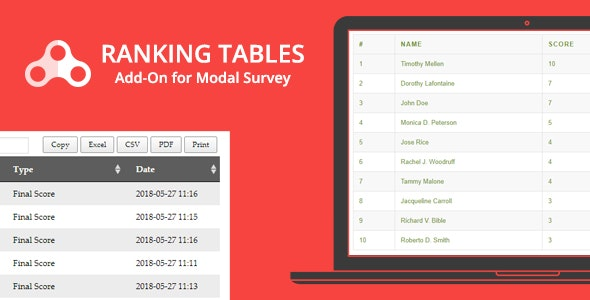 Ranking Tables - Modal Survey Add-on - CodeCanyon Item for Sale