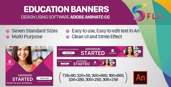 Education Banners - 7sizes (Animate CC)