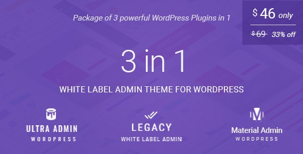 White label admin theme package for WordPress (3 in 1): (Ultra + Legacy + Material Admin) - CodeCanyon Item for Sale