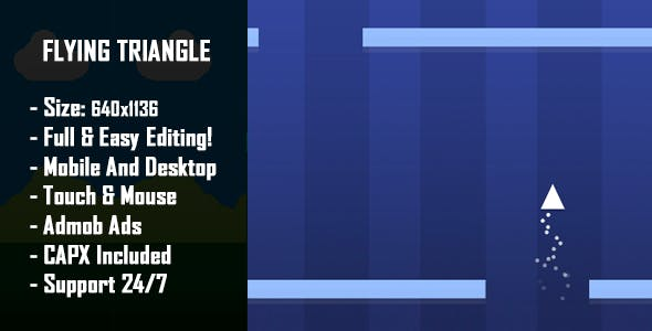 Flying Triangle - HTML5 Game + Mobile Version! (Construct 2 / Construct 3 / CAPX)
