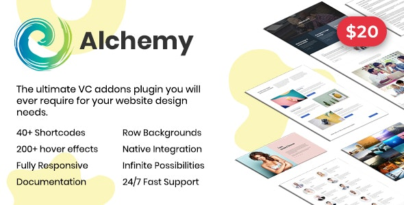 Alchemy Addons for WPBakery Page Builder (Formerly Visual Composer) - CodeCanyon Item for Sale