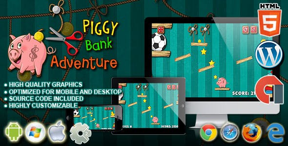 PiggyBank Adventure - HTML5 Construct 2 Physic Game
