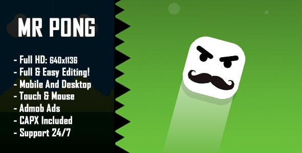 Mr Pong - HTML5 Game + Mobile Version! (Construct 2 / Construct 3 / CAPX)