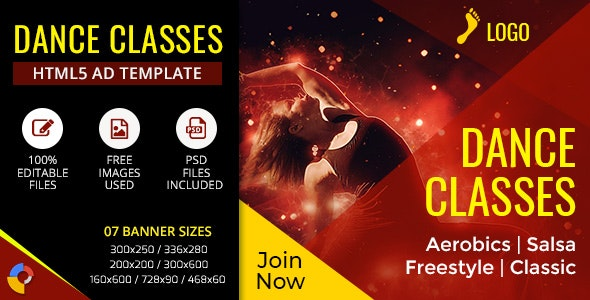 Gwd Dance Classes Ad Banner 7 Sizes By Ad Animate Codecanyon