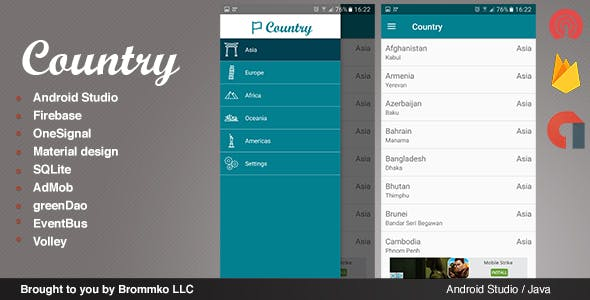 Country - Full Android template app