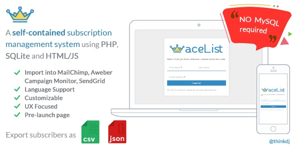 aceList: Minimal, stand-alone (No MySQL) subscription system and pre-launch page - CodeCanyon Item for Sale
