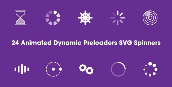 24 Dynamic Animated Preloaders - SVG Spinners