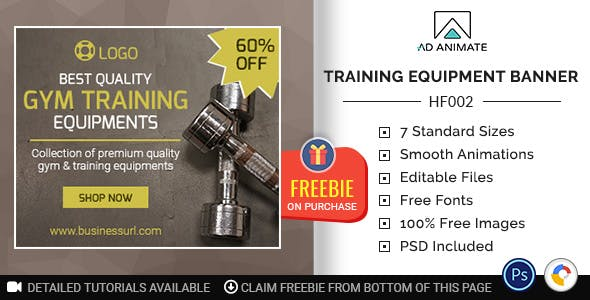Health & Fitness | Gym Training Equipment Banner (HF002)