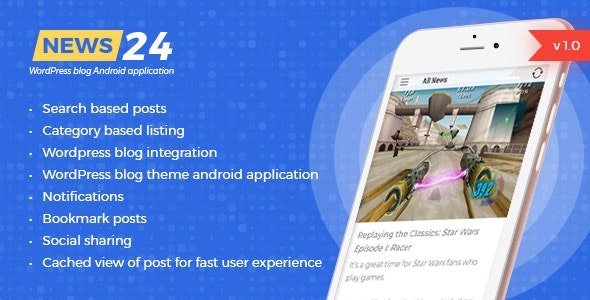 News 24 - Wordpress Blogs & News Android app - Google ads integrated | Analytics | Notifications - CodeCanyon Item for Sale