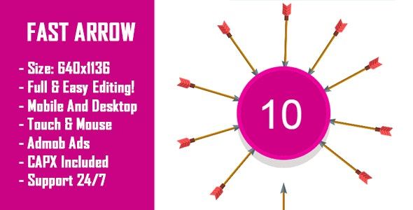 Fast Arrow - HTML5 Game + Mobile Version! (Construct 2 / Construct 3 / CAPX) - CodeCanyon Item for Sale