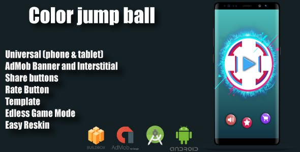 Color : Jump Ball + Admob + Multiple Characters (Android Studio + Eclipse+ Bbdoc)