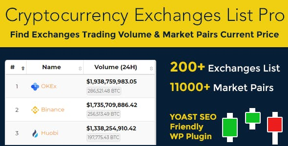 Cryptocurrency Exchanges List Pro - WordPress Plugin - CodeCanyon Item for Sale