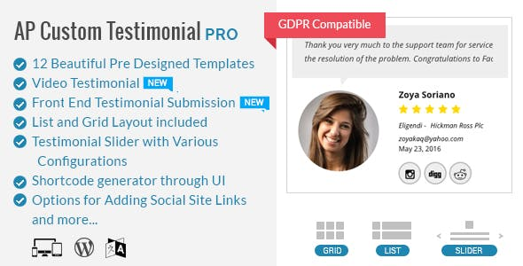 AP Custom Testimonial Pro -  Plugin To Showcase User/Google Places Testimonials for WordPress