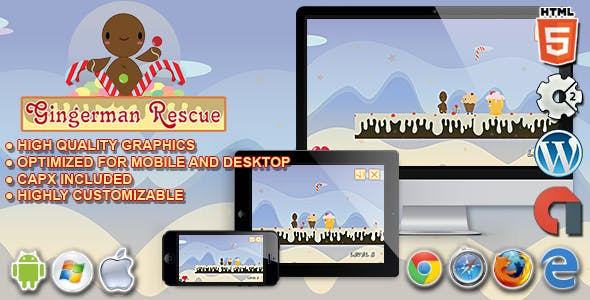 Gingerman Rescue - HTML5 Construct 2 Platform Game