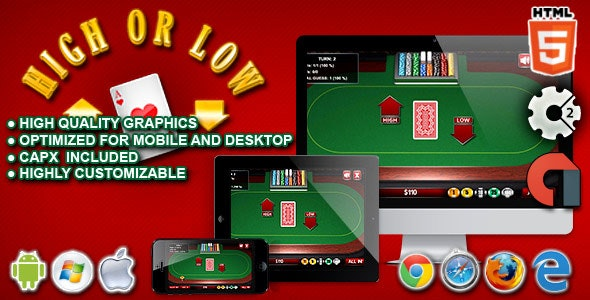 High or Low - HTML5 Construct Casino Game - CodeCanyon Item for Sale