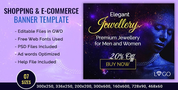 GWD | Jewellery Shopping Ad Banner - 7 Sizes - CodeCanyon Item for Sale