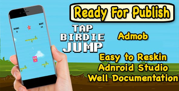 Tap Birdie Jump - Endless Game Play - Android Studio Project - Ready For Publish
