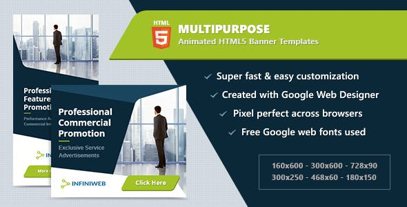 Multipurpose Banners - HTML5 Animated Ad Templates GWD