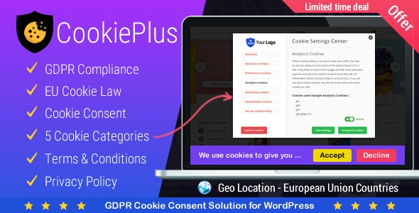 Cookie Plus GDPR - Cookies Consent Solution for WordPress. Master Popups Addon - CodeCanyon Item for Sale