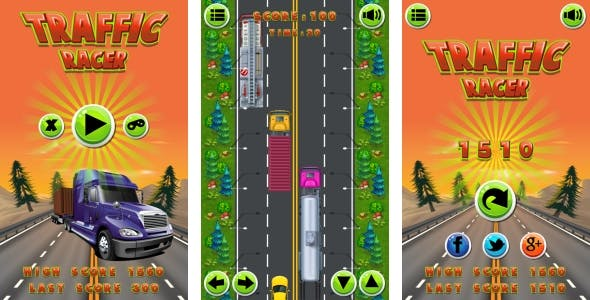 Traffic Racer - HTML5 Game + Mobile Version + AdMob! (Construct 3 | Construct 2 | Capx)