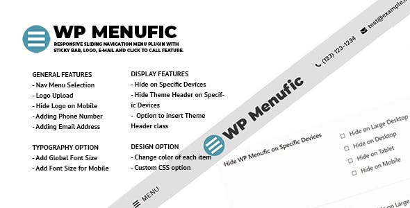 WP Menufic - Responsive Sliding Menu with Sticky Bar, Logo, E-mail and Click to Call