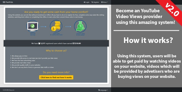 PaidVids - Paid to watch system! - CodeCanyon Item for Sale