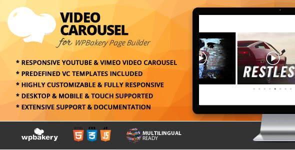 Video Carousel Addon for WPBakery Page Builder (formerly Visual Composer)