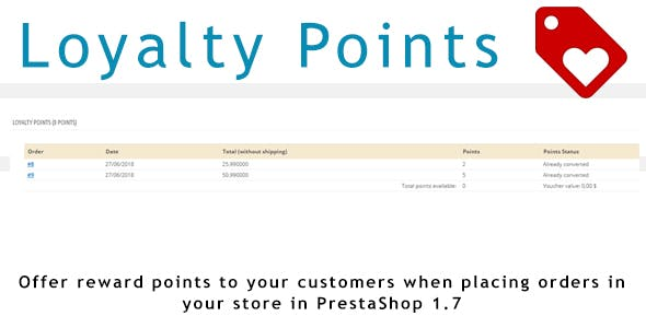 Loyalty Points  for PrestaShop 1.7