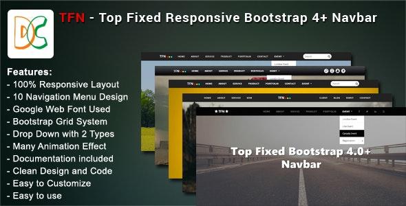 TFN - Top Fixed Bootstrap 4 Navbar by Designcollection
