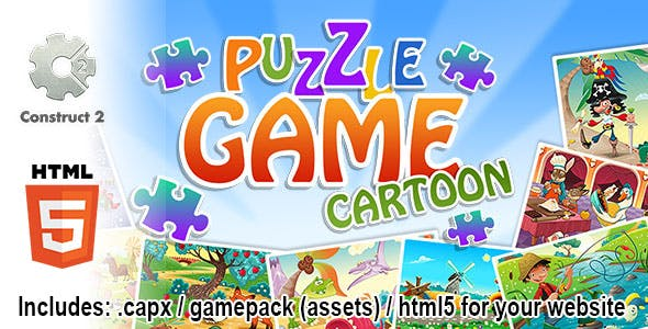 Puzzle Game Cartoon - Construct 2 Source Code and HTML5 Files for your Site