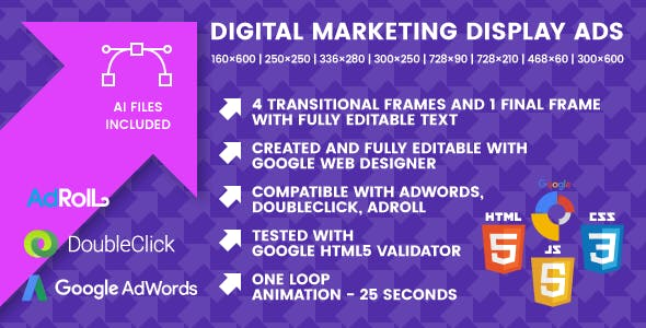 Digital Marketing Display Ads - Animated HTML5 Banner Ad Templates (GWD)