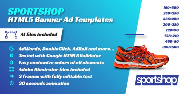 Sport Shop - Animated HTML5 Banner Ad Templates (GWD)