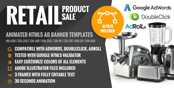 Retail | Product Sale - Animated HTML5 Banner Ad Templates (GWD)