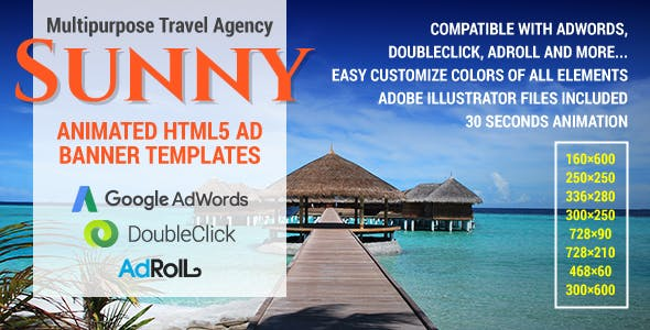 Sunny - Multipurpose Travel Agency HTML5 Ad Banner Templates