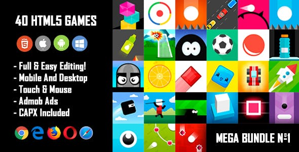 40 HTML5 Games + Mobile Version!!! MEGA BUNDLE №1 (Construct 2 / CAPX)