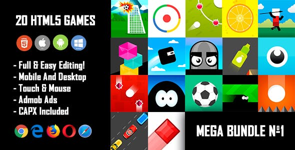 20 HTML5 Games + Mobile Version!!! MEGA BUNDLE №1 (Construct 2 / CAPX)