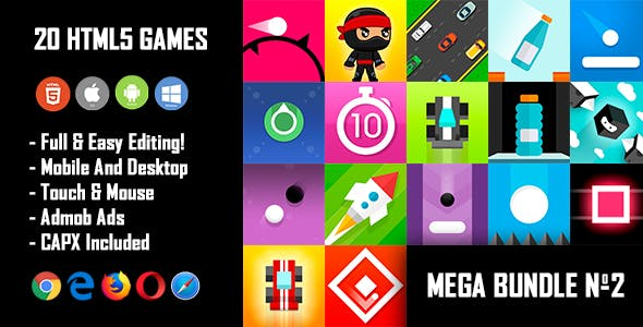 20 HTML5 Games + Mobile Version!!! MEGA BUNDLE №2 (Construct 2 / CAPX)