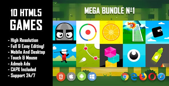 10 HTML5 Games + Mobile Version!!! MEGA BUNDLE №1 (Construct 2 / CAPX)