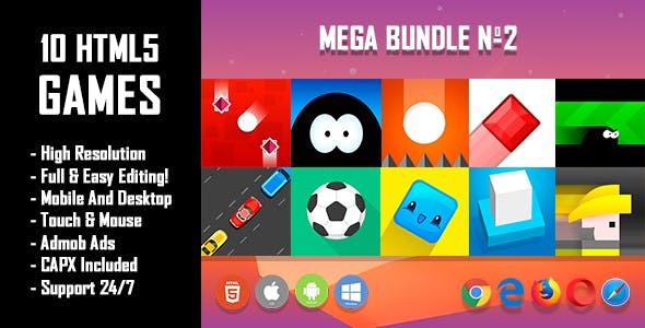 10 HTML5 Games + Mobile Version!!! MEGA BUNDLE №2 (Construct 2 / CAPX)
