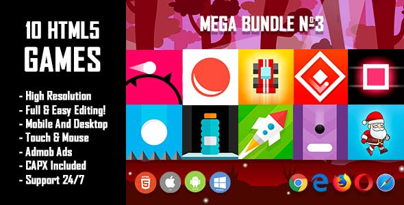 10 HTML5 Games + Mobile Version!!! MEGA BUNDLE №3 (Construct 2 / CAPX)