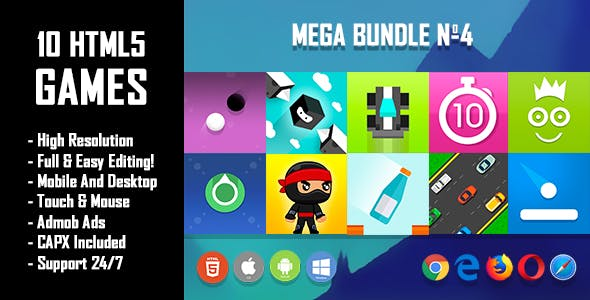 10 HTML5 Games + Mobile Version!!! MEGA BUNDLE №4 (Construct 2 / CAPX)