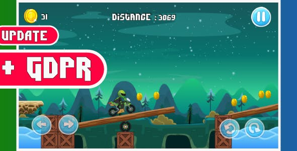 Moto bike race game with GDPR: Android Game - share and review button-easy to reskin