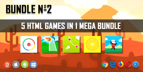 5 HTML5 Games + Mobile Version!!! BUNDLE №2 (Construct 2 / CAPX)