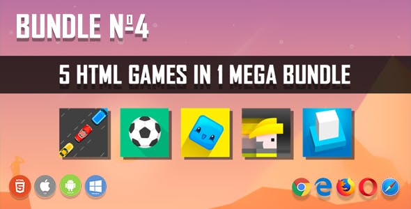 5 HTML5 Games + Mobile Version!!! BUNDLE №4 (Construct 2 / CAPX)