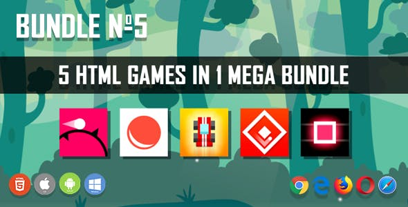 5 HTML5 Games + Mobile Version!!! BUNDLE №5 (Construct 2 / CAPX)