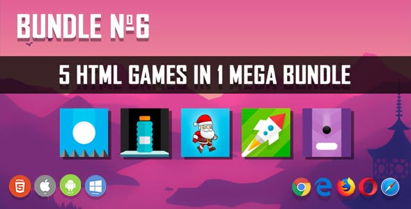 5 HTML5 Games + Mobile Version!!! BUNDLE №6 (Construct 2 / CAPX)
