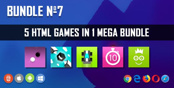 5 HTML5 Games + Mobile Version!!! BUNDLE №7 (Construct 2 / CAPX)