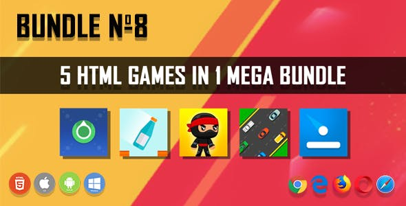 5 HTML5 Games + Mobile Version!!! BUNDLE №8 (Construct 2 / CAPX)